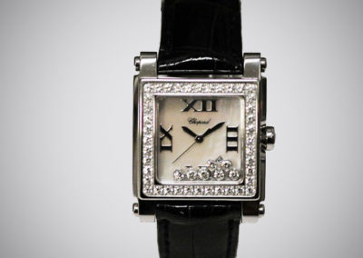 Chopard 30 mm acier or blanc diamants