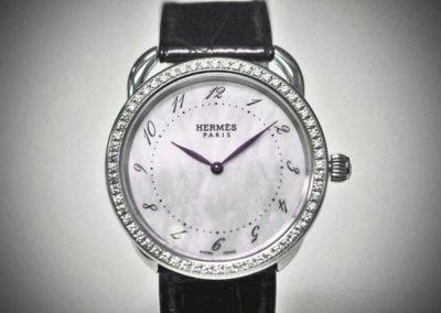 Hermès acier sertie diamants 39mm