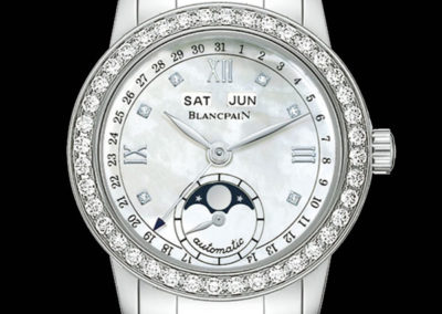 Blancpain Villeret 34 mm acier lunette sertie diamants cadran nacre diamants